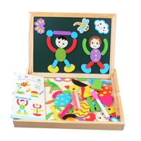 Atacado- Magnetic Puzzle Jigsaw Toy Set Desenho Multifuncional Escrita Board Kids Educacional Puzzle Toy Double Side Easel Toy K5BO