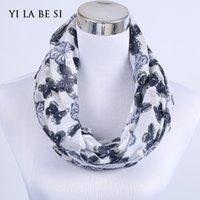 Wholesale New Fashion Butterfly Ring - Wholesale-2016 New Female Butterfly Thermoprint Silver Infinity Scarf Fashion Women Ring Collars Neck O Loop Scarf Mixed Design Spring