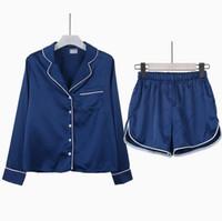 Wholesale Womens Sleepwear Shorts - Wholesale- Fashion Womens Pajamas Set Blouse Shirt + Shorts Underwear Sleepwear Casual fashion loose long-sleeved suit