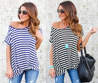 Wholesale Xl Blouse For Women Cheap - Sexy Off One Shoulder Striped T Shirts For Women Summer Short Sleeve Tee Blouse Tops   Black Blue S-XL   Wholesale Cheap DHL Fast Shipping