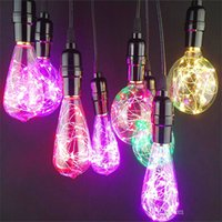 Wholesale Clear Wire Christmas Lights - Christmas lights Wholesale star RGB led bulbs G125 G125 G95 ST64 retro ball bubble copper wire lamp color decoration bulb foreign trade