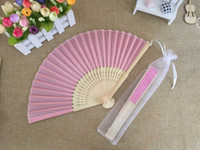 Wholesale Umbrella Bag Free Shipping - Free shipping Wholesale 50pcs lot White Elegant Folding Silk Hand Fan with Organza Gift bag Wedding & Party Favors Gift