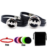 Wholesale Batman Bracelets - Round Silver Batman (25-30mm) with Black Genuine Leather Perfume Locket Bangle Essential Oils Diffuser Locket Leather Bracelet