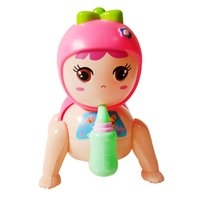Wholesale Plastic Ass Toy - 2017 promotion juguetes vintage toys baby shape crawling toy with glowing music plastic clockwork twisted ass climb bottle lovely mini