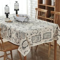 sell table covers al por mayor-Table CottoCotton Linen Table Runners Map Impresión Personalizada Hogar Europeo Simple Lace Manteles Hot Selling Cubre Mesa