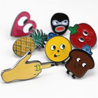 Wholesale Cute Pin Badges - Wholesale- 2016 Shirt Collar Badge brooch set Pin Lovely fruit cute cartoon Fruit Lapel Pin small cravat mini button Costumes Badge