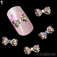 10pcs / bag 3D Deco Bow Knot Alloy Jewelry Multicolor Glitter Rhinestone Nail Art Советы наклейки 1NNI