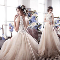 Wholesale Tulle Lace Bateau Bridal Dress - 2017 New Spring Boat Neck Boho Beach Wedding Dresses Backless Appliques Lace Bodice Tulle Skirt Sheer Plus Size Beach Bridal Gowns BA3622