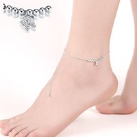 Wholesale Butterfly Bracelet For Girls - Foot Bracelet for Women Simple Silver Plated Metal Beads & Butterfly Pendant Charms Anklet Chain Fashion Brand Silver Jewelry Gift Wholesale