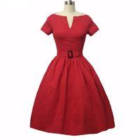 robe vintage femme pin-up achat en gros de-Femmes Rockabilly Robe Hepburn PinUp V-cou robe de bal Tunique Balancez Vintage Femme Robes Femme des années 50 Vestidos 60 avec ceinture DK3044MX