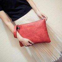 Wholesale Women S Clutches - Fashion solid women\'s clutch bag PU leather women envelope bag clutch evening bag female Clutches Handbag