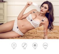 Wholesale Bras Set C Cup - Newest Very Sexy Women Half Cup Lace Bra + Briefs Plus Size Ultra-thin Sexy Plunge Bra Sets A B C D Cup