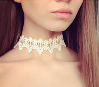 Wholesale white lace necklace - 2018 Newest fashion jewelry accessories white &black lace tattoo choker necklace for couple lovers free shipping