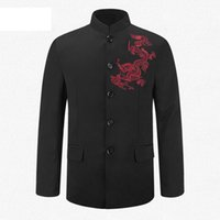 Wholesale Chinese Tunics Costume - Wholesale- Black Chinese Tunic Suit Men's Traditional Stand Collar Suits Apec Leader Costume Male Embroidery Dragon Totem Suit