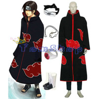 Anime Naruto Akatsuki Itachi Deluxe Cosplay Kostüm 7 in 1 Voll Combo Set (Umhang + T-Shirt + Hosen + Stirnband + Stiefel + Halskette + Ring)