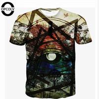 Wholesale funny graphic shirts - Wholesale- OPCOLV New Arrival Brand Clothing illuminati T-Shirt For Men Women Funny T-shirt Short Sleeve Harajuku Tshirt Graphic Tees