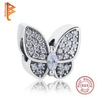 en forma de mariposa al por mayor-BELAWANG fit Pandora Charm BraceletsNecklace Moda DIY Jewelry Making Europea CZ Beads 925 Sterling Silver Butterfly Forma Charms Beads