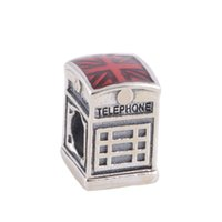 Wholesale Heart Music Box - Authentic 925 Sterling Silver Beads Red Telephone Box Charm Fits European Pandora Style Jewelry Bracelets & Necklace 791202EN49