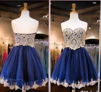 2017 Navy Blue Short Short Homecoming Dresses Sweetheart Gold Pizzo Appliqued Short Cocktail Dresses Partito Party Graduation Dresses Sweet 16