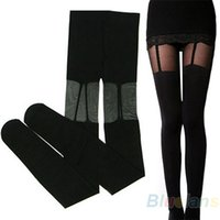 Wholesale Decorated Leggings - Wholesale- Fashion Stretchy Stockings Sweety Black Leggings w Decorated Garters 01TS 361Z