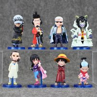 Wholesale One Piece Figure Collections - EMS 6.5-9cm 8pcs lot One Piece Q Version PVC Action Figure Collection Model for Kids Toy free shipping