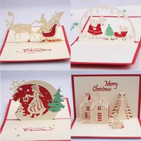 Wholesale Origami Handmade - 10pc Handmade Creative Kirigami & Origami 3D Pop UP Greeting Cards Christmas Gift Christmas Tree Santa Wholesale