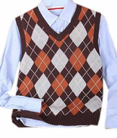 Wholesale Mens Brown V Neck Vest - Wholesale- Generic Mens Fashion Checkered Slim V Neck Sleeveless Sweater Vests