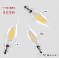 führte kerzenbirnen schwanz großhandel-Dimmbare LED Edison Glühlampe LED Kerzenlampe Lampen E14 E12 Candle Light BombillasCrystal Kronleuchter tailed Birne