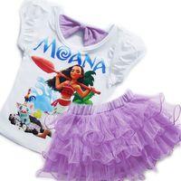 Wholesale Girl Puff Skirt Set - 2017 Moana girls T shirt + tutu skirt dress 2pcs set Back bow Puff sleeve short sleeve Roll tutu skirt New arrival Girls clothing