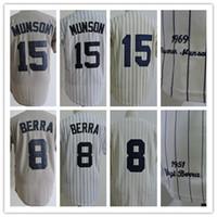 Wholesale 1969 Baseball - Men's Retro 1973 #15 Thurman Munson Throwback Baseball Jersey 8 Yogi Berra 1969 White Cream Grey Baseball Jerseys Size S M L XL XXL XXXL