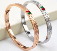 nuevas pulseras de amor al por mayor-Brazalete de oro de la pulsera del amor del acero inoxidable de la alta calidad nueva edición de han G brazalete de oro rosa de acero titanium para las mujeres