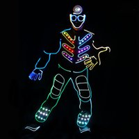 Wholesale Led Jumpsuits - YB149 Led Fiber Optic Jumpsuit with Mask Gloves for Stage Light Performance led costume controller dance lights halloween costumes