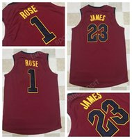Wholesale New Style Fan - 2017 New Style 23 LeBron James Basketball Jerseys 2018 Men Sale 1 Derrick Rose Home Red Jersey For Sport Fans Top Quality On Sale