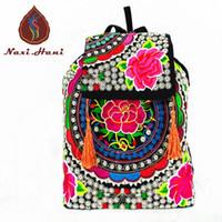 Wholesale Cell Phone Sales Online - Wholesale- Vintage boho embroidered Canvas women Backpack Ethnic cover Hasp casual tassel travel Backpack Online sales Pattern satchelbags