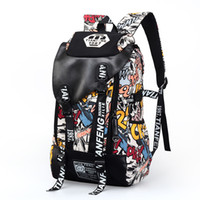 Wholesale large cooling bag for sale - Group buy New Super Large Fashion Cool Leisure Canvas Backpack Travel Bag for Men and Women Great Britain Flag Doodle Letter Printing