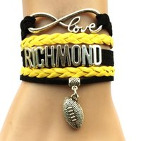 Vente en gros-Drop Livraison Infinity Love Richmond Football Bracelet-Black avec jaune Australian Sports Charm Cheering Club Team Cadeau