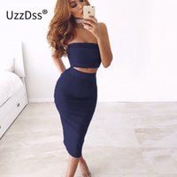 Summer Sexy Womens 2 Two Piece Set Autunno Crop Top in pelle scamosciata elegante Party Club Dress 2017 Abbigliamento aderente abiti Mujer