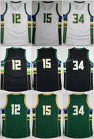 Wholesale Monroe Red - 2017 New 34 Giannis Antetokounmpo Jerseys Men 12 Jabari Parker 15 Greg Monroe Jersey Black Green White Embroidery With Player Name