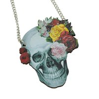 Wholesale Hip Jewellery - Skull And Flower Pendant Wood Ethnic Style Hip Hop Choker Necklace Women Jewellery From India New Coming