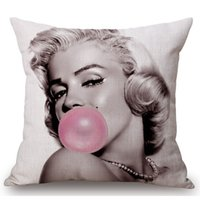 Wholesale Cover Pillow Marilyn - The Walking Dead Cotton Linen Cushion Cover Marilyn Monroe Audrey Hepburn Elvis Presley Chair Waist Square Pillow Cover Homing