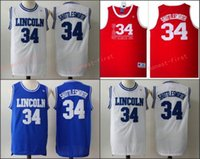 "Wholesale Game Film Movies - 2017 Hot Sale Movie Jesus Shuttlesworth Lincoln High School #34 Ray Allen Jersey Film ""He Got Game"" Jersey Blue White Red Stitched Jersey"
