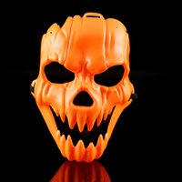 Wholesale creepy animal - Halloween Orange Mask Plastic Creepy Pumpkin Vizard Masks With Elastic Rope Full Face Supplies New Arrival 2 5lh B R