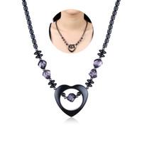 Wholesale Black Crystal Heart Pendant Necklace - Ironstone Inlaid Purple Crystal Necklaces Romantic Love Heart Pendants Black Beads Beaded Necklace Women Vintage Boho Style Female Jewelry