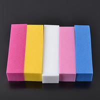 Wholesale Color File - 5 Pcs set Nail Art Sand Buffer Block Sponge Fluorescent Color French Acrylic Nails Tips File Sanding Polishing Pro Manicure Tool