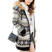 Wholesale Snowflake Cardigan Women - Wholesale- High Quality Hooded Fur Collar Plus Thick Velvet 2016 Autumn Winter Fashion Snowflake Zipper Sweaters For Women Cardigans