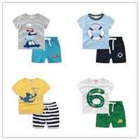 Wholesale Toddler Summer Zebra Boy - New INS Baby Boys Girls Letter Sets Top T-shirt+Pants Kids Toddler Casual Short Sleeve Suits Summer Children Outfits Clothes Gift