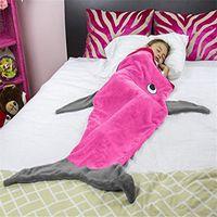 Wholesale Sleeping Bags Polar Fleece - Kids Mermaid Tail Blanket Flannel Shark Blankets Boys Girls Children Bilayer Winter Sleeping Bags Soft Sofa Blankets Christmas Gifts Costume