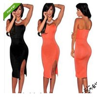 European Dress Hot Style Sexy Dress Up Chest Open Fork Pure Color Borsa Hip Dress Night Club