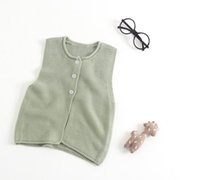 Wholesale Girls Knit Cardigan Vest - Retail Spring Autumn New Baby Girl Knitting sweater Cardigan vest Children Clothes 0-3T E70925
