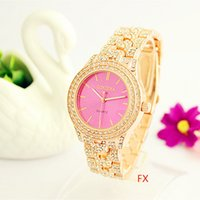 Wholesale Fx Gold - FX 2017 NEW Women Fashion Watch Luxury Rose gold Crystal Diamond Bracelet Watches
